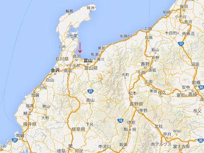 バーチャル奥の細道の旅の現在地(富山県高岡市)