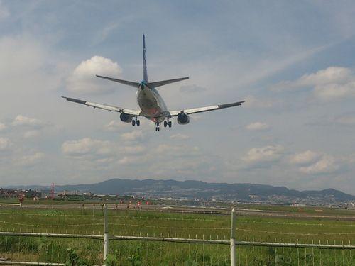 頭上を通過後の飛行機