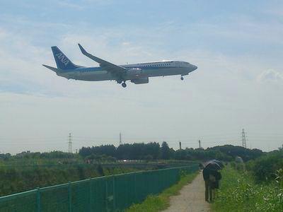 飛行機の横からのショット